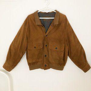Vintage Genuine Leather Oversized Bomber Jacket